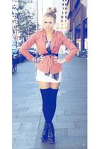 pink wish blazer - black betts boots - white wish dress