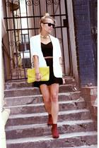 black Somedays Lovin dress - maroon suede boots Dotti boots - white Dotti blazer
