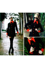 Ruby-red-vintage-coat-black-american-apparel-socks