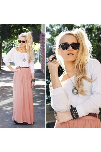 pink maxi skirt wish skirt - black sunnies Ray Ban glasses