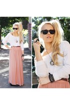 pink maxi skirt wish skirt - black sunnies Ray Ban glasses