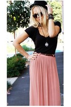 pink maxi skirt wish skirt - black bowler hat agent ninetynine hat