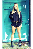black sheer shirt UNIF shirt - black suede shorts One Teaspoon shorts