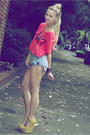 Sky-blue-shorts-one-teaspoon-shorts-hot-pink-top-glamour-kills-top