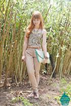 chartreuse thrifted envelope bag bag - light brown handsewn corset bodysuit