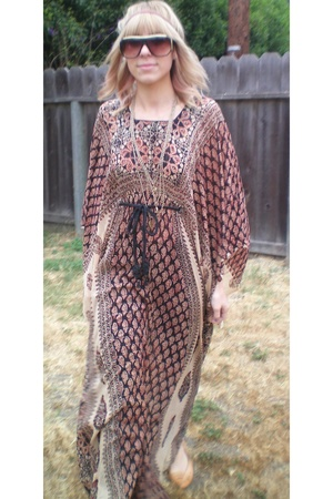 brown hippie boho dress