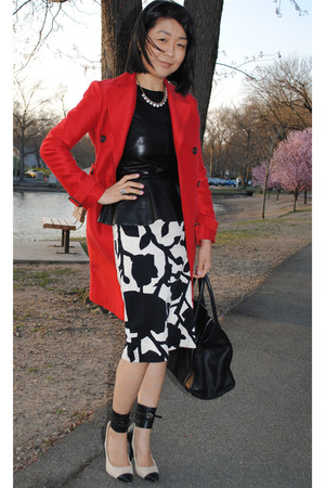 black Isabel Marant shoes - ruby red trench BCBG jacket - black Celine bag