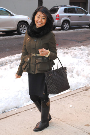 peplum Burberry jacket - rubber tory burch boots - fur Bop Basics scarf