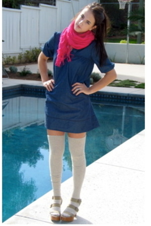 scarf - dress - American Apparel socks - Gap shoes