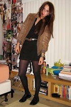 Grandmas old coat - Lacoste dress - thrifted belt - Betsey Johnson tights - Stac