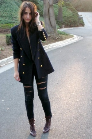mothers blazer - f21 jeans - Nordstrom boots