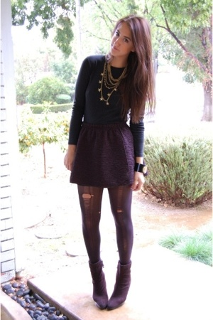 black random shirt - black Target boots - black Betsey Johnson tights