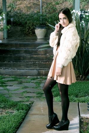 cream fur coat - Aldo shoes - American Apparel dress