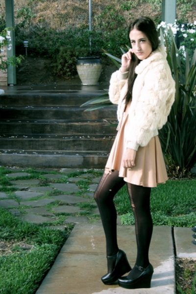 cream fur coat - Aldo shoes - American Apparel dress