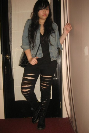 Gap jacket - Topshop top - jeans - doc martens shoes - Topshop purse