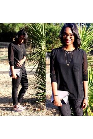 light pink metallic nike sneakers - black Mango blouse - black H&M pants