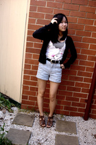 g2000 sweater - c top - Mink Pink shorts - vintage belt - shoes