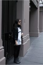 vintage blazer - colour18 scarf - DIY studded shorts - vintage shoes - Karen Wal