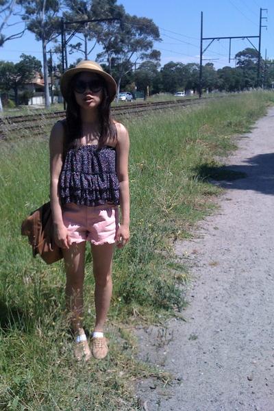 beige Windsor Smith shoes - beige Mums hat - pink versace shorts - blue - skirt