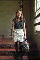 Leghorn top - DIY skirt - vintage boots