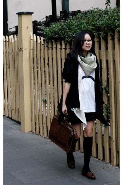 Gasoline jacket - DIY knit scarf - vintage glasses - vintage shoes