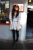 black Docs shoes - blue vintage dress - black tights - purple Ksubi sunglasses