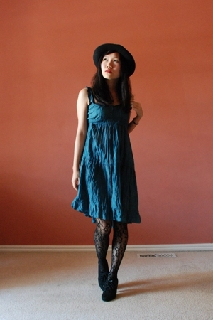Zag hat - dior - jj market dress - tights - Zara boots