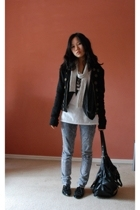 Oneteaspoon jacket - Claude Maus scarf - Mixed apparel sweater - sass&bide t-shi