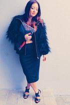 DIY bag - Zara coat - crop-top Topshop top - Zara skirt