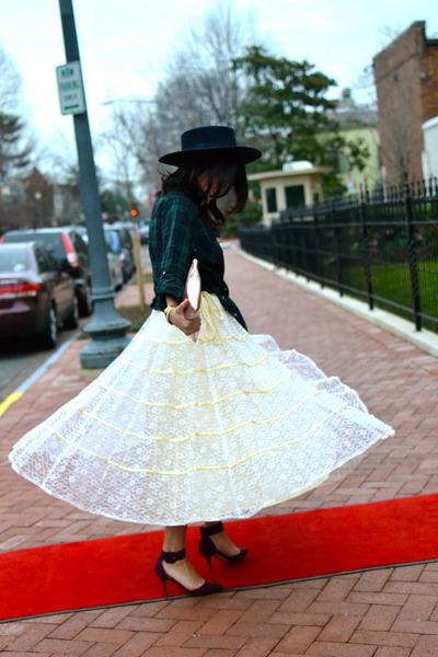 navy top hat Moschino hat - kitty heels Zara shoes - plaid Zara shirt