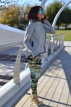 nike cape - metal toe Zara shoes - floral trousers Zara pants