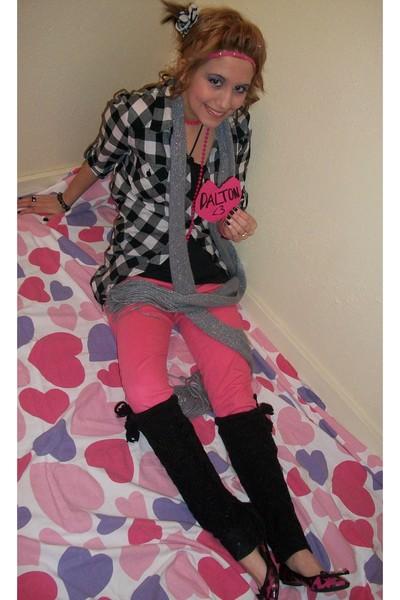Forever 21 pants - Forever 21 blouse - Charlotte Ruse leggings - pink Forever 21
