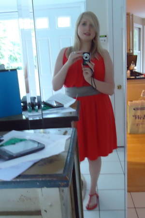 orange Express dress - orange t-strap Old Navy sandals - gold burnished earrings