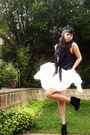 Black-tony-bianco-boots-white-diy-skirt-black-bow-headband-diy-accessories-