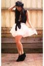 Black-tony-bianco-boots-white-diy-skirt-black-bow-headband-diy-accessories-