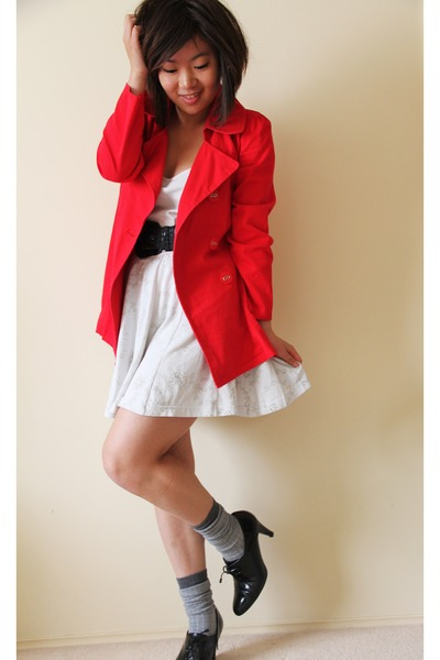 black vintage shoes - red vintage jacket - silver asos socks - white vintage ski