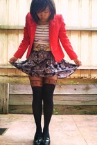 red Dotti jacket - black asos tights - blue Market skirt - black Micheal Kors lo
