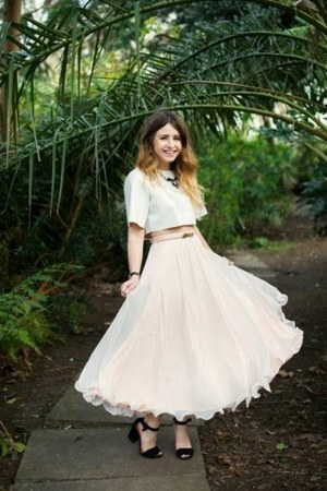 light pink Frank Usher skirt - white Missguided top - black Oasis heels