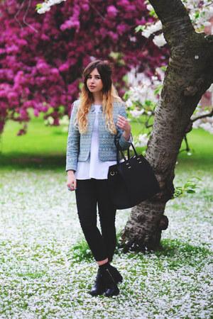 aquamarine Topshop jacket - black H&M boots - black Oasis jeans