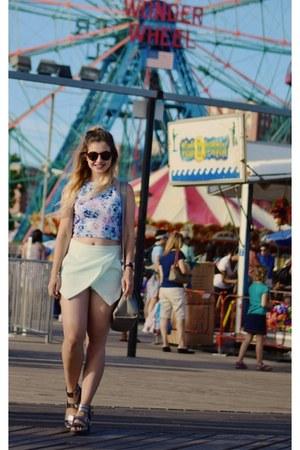 periwinkle crop top Miss Selfridge top - light blue new look shorts