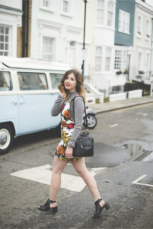 heather gray Missguided top - red Motel Rocks dress - black Primark bag