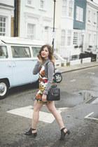 heather gray Missguided top - red Motel Rocks dress - black Primark bag