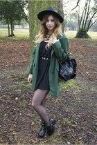 green Chicwish coat - black Chicwish boots - black Chicwish dress