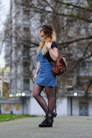 dark gray Primark t-shirt - black H&M boots - blue Topshop dress
