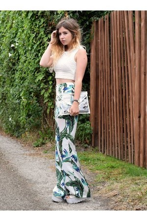 sky blue Zara pants - white Boohoo bag - cream so in fashion top