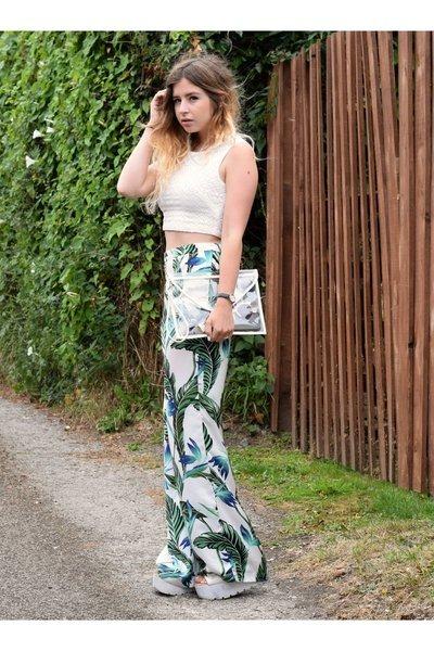 sky blue Zara pants - white Boohoo bag - cream so in fashion top