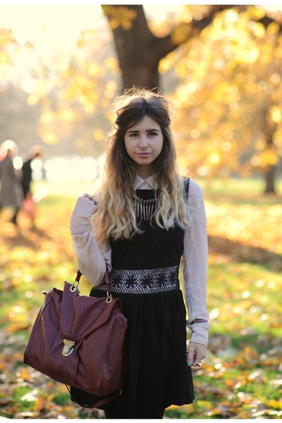 nude Republic blouse - black Topshop dress - ruby red Primark bag