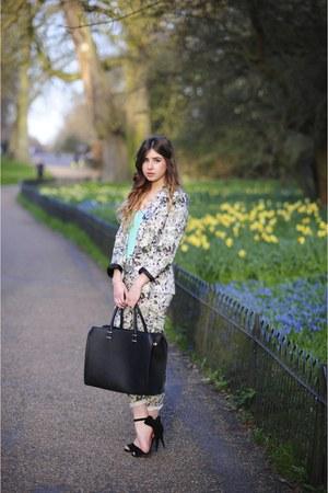 light blue Oasis blazer - black H&M bag - light blue Oasis pants