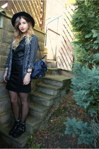 black Chicwish boots - black inlovewithfashion dress - black H&M hat