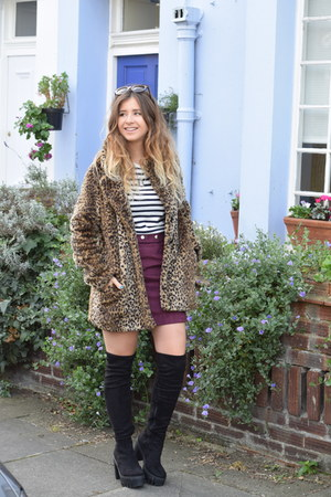 maroon asos skirt - black asos boots - dark brown International coat